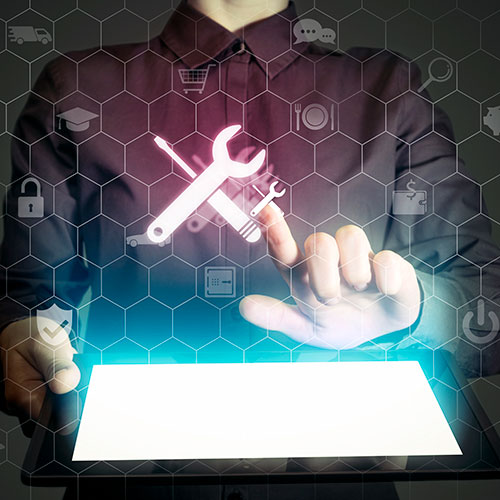 creative photo imagery person holding a tablet and touching wrench and tool illustrations