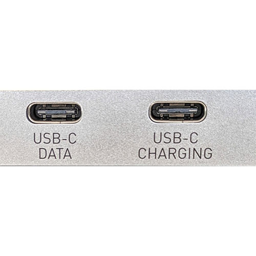 USB Type-C inputs on a portable docking station labeled for data and charging respectively