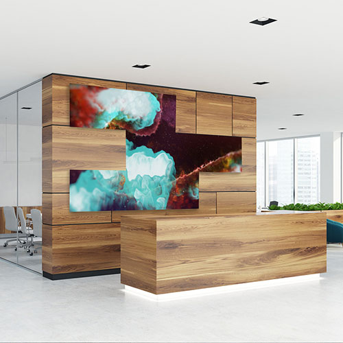 Corporate lobby with digital signage