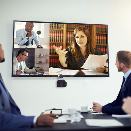 meeting over videoconference for a court