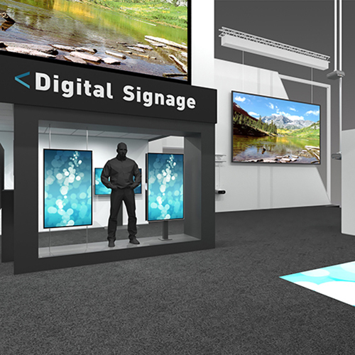 computer design of the ISE booth, digital signage section