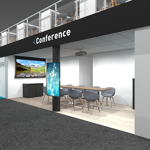 Section of the ISE 2020 booth design.