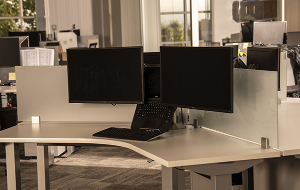 Desk with monitor mounts