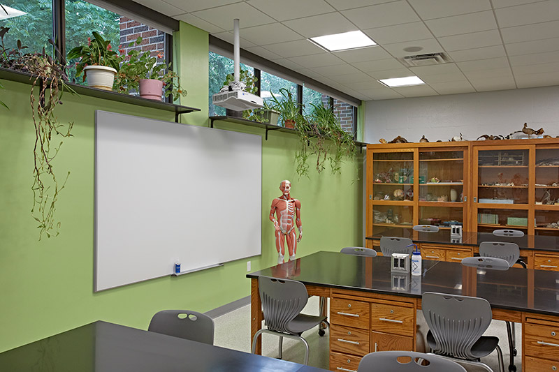 Science classroom with IDEA screen on wall