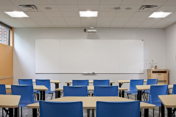 Classroom with IDEA screen at the front