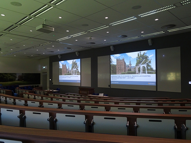 Lecture room with two screens