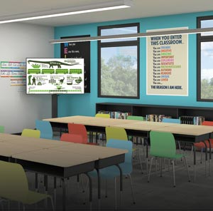 Classroom with Flat Panel Carts and Floor Support Mounts