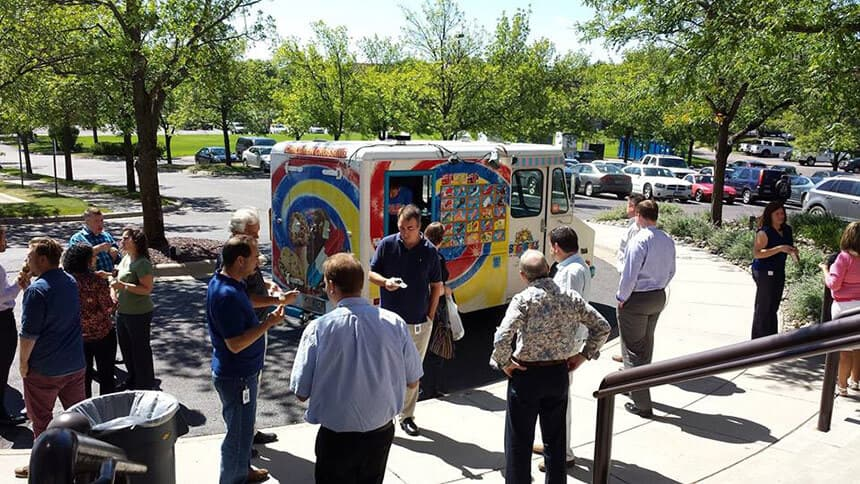 Ice Cream truck in front of Milestone corporate office