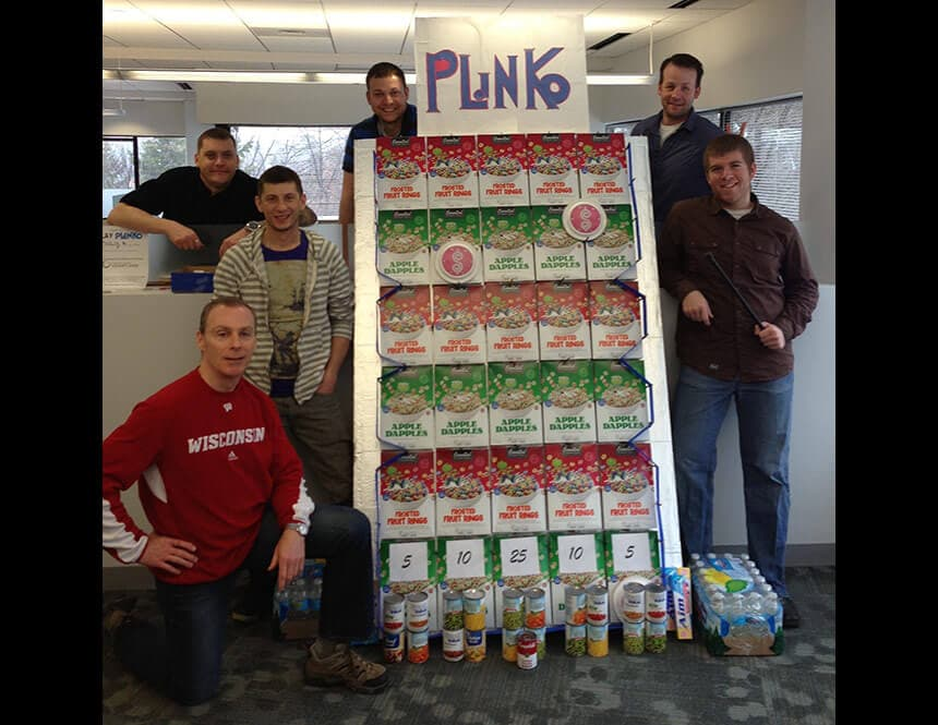 Milestone team makes a Plinko game out of donated food for charity