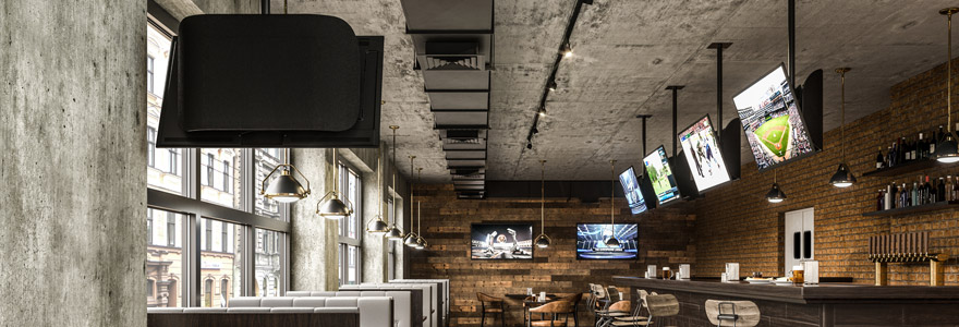 ceiling mounted displays in a bar