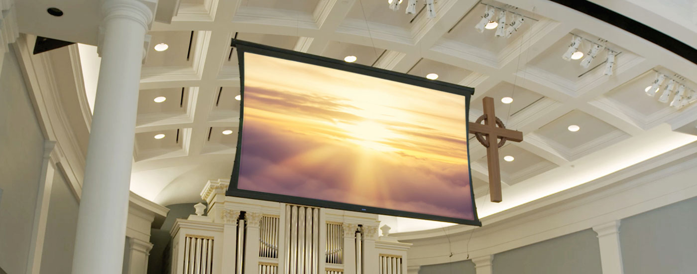 Da-Lite Wireline screen used in a house of worship - Desktop