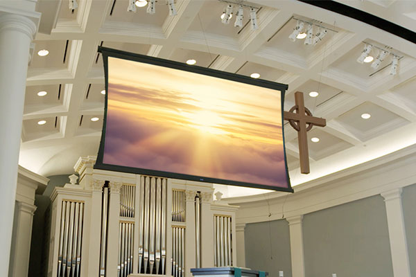Da-Lite Wireline screen used in a house of worship - Mobile