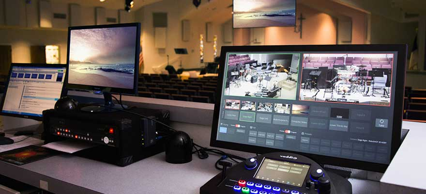 Vaddio camera controllers and switches in a house of worship setting.